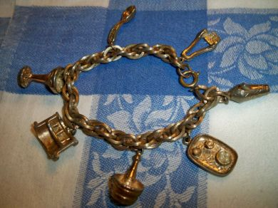 Vintage 1920s - 1930s Antique Goldtone Barware Charm Bracelet