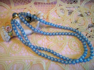 Vintage 1950s Blue Moonstone Beaded Necklace