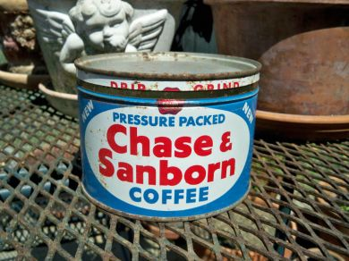 Vintage 1950s Chase and Sanborn Coffee Can 1lb Tin