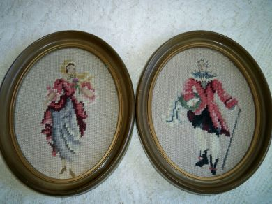 Vintage Framed Needlepoint Pair 18th Century Couple