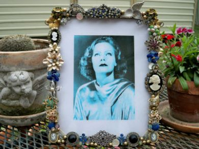 Vintage Rhinestone Cameo Jewelry 1930's Picture Photo Frame Brooches Earrings Greta Garbo