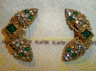 Vintage 1950s Miriam Haskell Earrings Ear Climbers Ear Clips Murano Art Glass Beads Rhinestones
