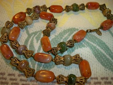 Vintage 1950s Miriam Haskell Necklace Art Glass Beads Brass Crown Bead Caps