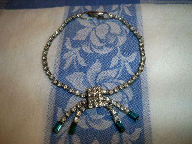 vintage 1940s   1950s art deco style sparkling clear   emerald rhinestone