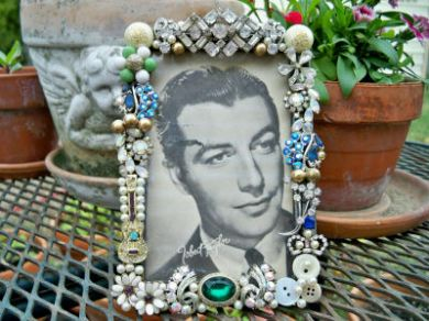 Vintage Rhinestone Jewelry 1930's Picture Photo Frame Brooches Earrings Robert Taylor
