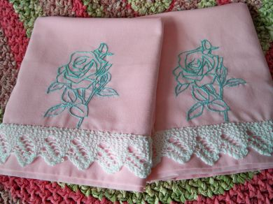 Vintage Pink Pillowcases Embroidered Roses Crocheted Lace