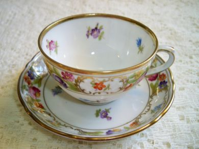 Vintage Schumann Dresden Flowers Empress Demitasse Teacup and Saucer