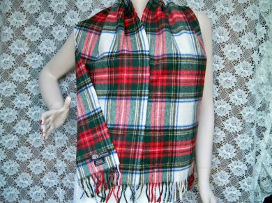 Vintage Scottish Cashmere Scarf Dress Stewart Tartan by Crombie of Scotland