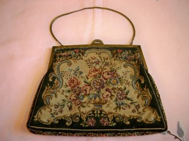 Vintage 1920s - 1930s Petite Point Tapestry Print Evening Bag Purse
